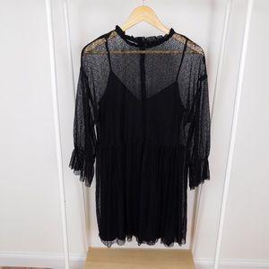 Zara Black Spiderweb Lace Mini Dress